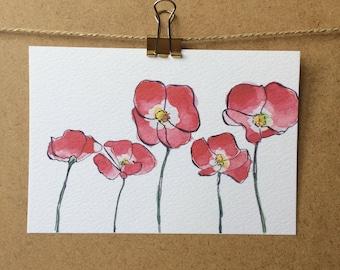 Poppies Postard - Illustration - Flowers