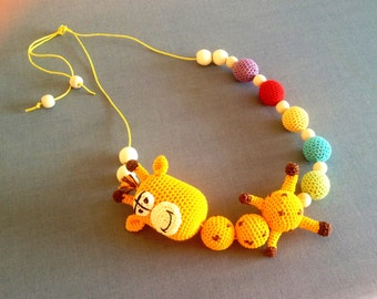 Mammy and baby teething crochet necklace. Teething necklace. Sling accessory. Necklace. Baby toy