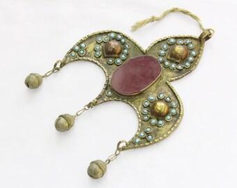 Ethnic Tribal Kuchi Pendant, Afghan Vintage Costuming Pendant, Bellydance Alpaca Beads Pendant, Tassels Dangly Pendant, Adorable Jewelry