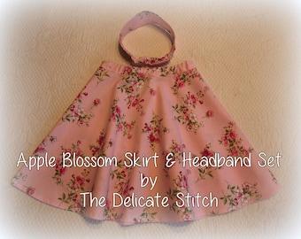 3T Slim Toddler Girl Pink Skirt & Headband Set--Waverly Apple Blossom Print--Free Shipping