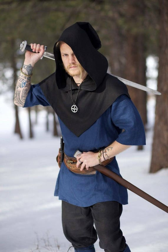 Linen Viking Skjoldehamn Archer Oversized Hood, Garb, Historical, Norse, SCA, LARP, HEMA, Reenactment, Medieval, Renaissance, Elf
