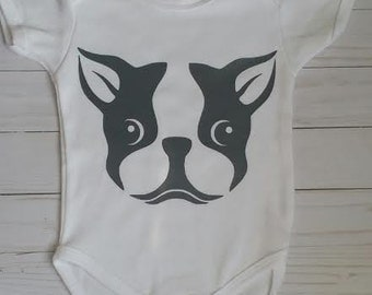 Baby boy/baby girl/clothes/onesie/dog lover/boston terrier/bodysuit