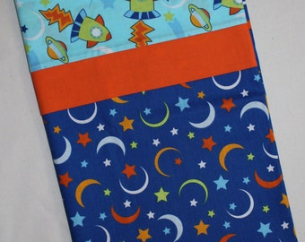 Moon & Stars Standard Pillowcase, Outer Space, Rockets, Blast Off