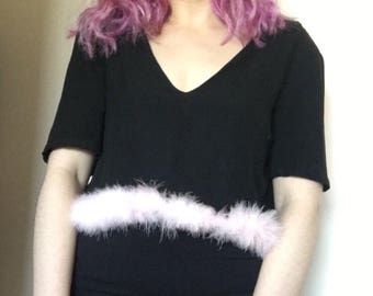 Black cropped tshirt with babg pink faux fur trimming