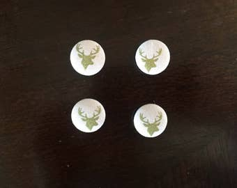 Pink And Gold Deer Magnets; Set of Four