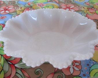 Westmoreland Milk Glass Beaded Edge Nappy Dish