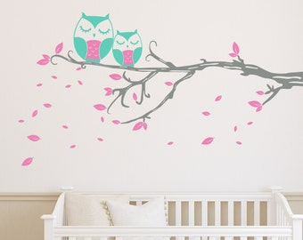 Owl Branch - Vinyl Wall Decal Quote