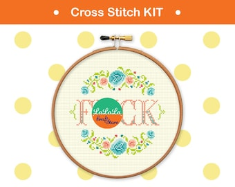 Cross stitch KITs Adult cross stitch Funny cross stitch Modern cross stitch Swear cross stitch sampler Swear Embroidery kits DIY kits - F*CK
