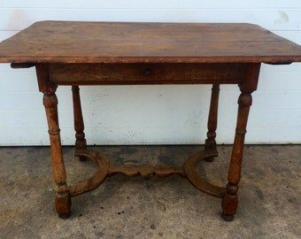 Antique Farm Table with One Drawer