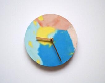 Colourful, Round Concrete Clock
