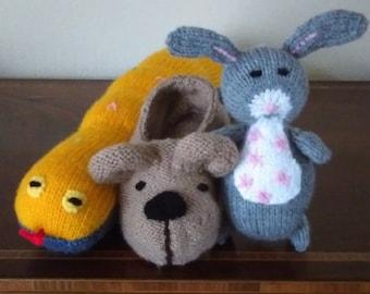 Hand Knitted Kipper's Toy Box  - Rabbit, Slipper and Mr. Snake