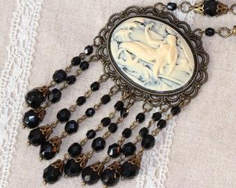 Black Cameo Necklace, Vintage Style Mermaid Cameo Crystal Necklace