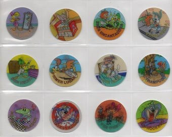 TINY TOONS COLLECTION Looney Tunes 99 Tazos Toys Collection Figures Complete set Daffy Duck Bugs Bunny Porky Elvira Taz Tazmanian Plucky