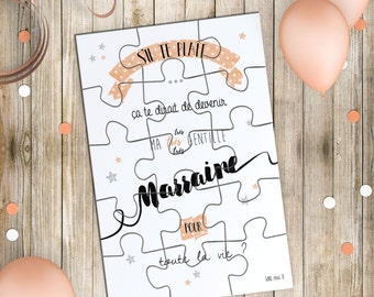 Godmother announcement - Card Puzzle and surprise pouch