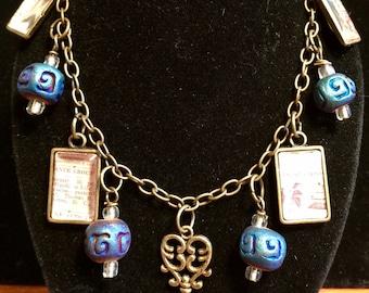 Tiny Pictures & Blue beaded charm bracelet