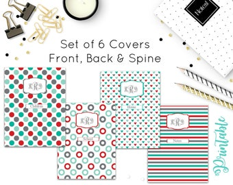 Teal and Red Binder Cover Set- Binder Spines-Editable Binder Cover