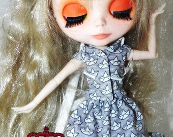 Chaos Queen  Cute  Boat  dress  and  Headpiece  for  Blythe