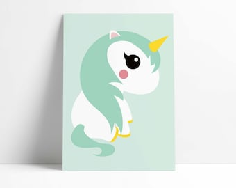 Postcard Unicorn Mint