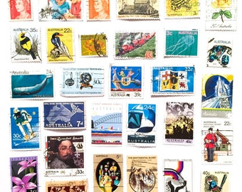 30 x used Australian rainbow postage stamps, all different, off paper - Oz Australia - for collage, stamp collecting, scrapbooking, crafts