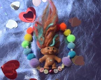 Rainbow pompom troll bracelet,  fairy Kei,  party Kei , decora