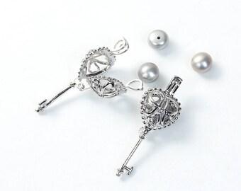Keepsake Heart Crown Key Pendant - Holds a Small Jewel or Bead