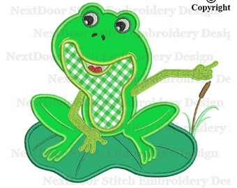 Frog embroidery design, frogs on lotus embroidery applique file, frog-009