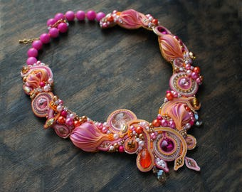 Soutache necklace, Pink, gold ant orange necklace with shibory, Embroidered necklace, Crystal necklace, Beaded necklace,  FREE SHIPPING