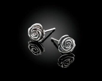 925 sterling silver rose ear studs