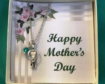 Mother with ONE child necklace, personalized with Swarovski Birthstone Crystals. Mother's Day, Birthday, Grandmother Gift, Godmother Gift