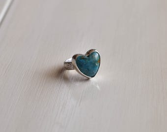 Turquoise Heart Ring, Natural Turquoise Ring, Heart Ring, Sterling Silver Heart Ring, Floral Band, Turquoise Heart, Size 7.5