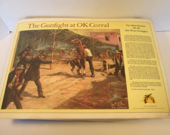 Set of 7 Vintage Wild, Wild West Gunfighters Placemats (Rare)