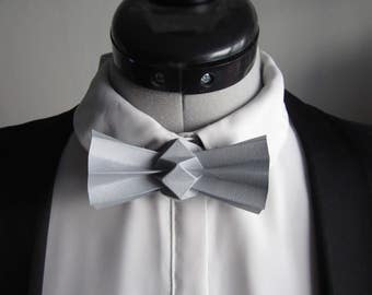 bow tie in gray origami - mixed