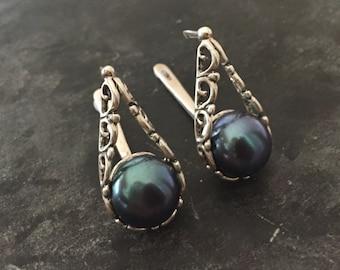 Black Pearl Earrings, Natural Pearl, June Birthstone, Pearl Earrings, Vintage Pearl, Vintage Style, June Earrings, Black Pearl, Solid Silver