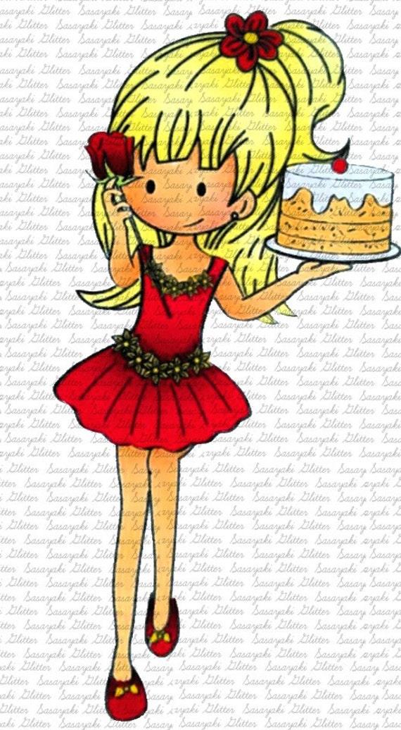 Birthday Meg Digital stamps by Sasayaki Glitter - Black and White