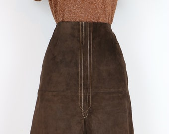 1970's Skirt - Suede Skirt - A-line - Brown - Embroidered Contrast Stitching - Front Kick Pleat - Boho Vintage Skirt - Size Medium Waist 29""