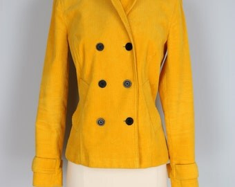 Bold Yellow Corduroy Double Breasted Peacoat Pockets Buttoned Tab Cuffs Liz Claiborne Size Small