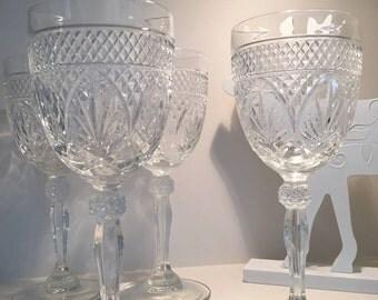 7 Cris D' Arques Wine Glasses, Durand Luminarc, Clear Pressed Glasses, Vintage Wine Glass, Vintage Stemware, Wedding Wine/Water Glass, 1970