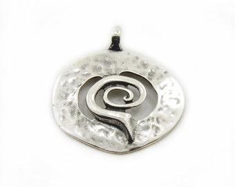 Round Swirl Pendant, Large Swirl Pendant, Metal Cirle of Life Pendant, Antique Silver Swirl Pendant, Jewelry Making, Craft Supplies