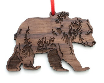 Grizzly Bear Christmas Ornament - Mountain Man Christmas Wild Animal Holiday Ornament . Wood Crafted Ornament Design by Nestled Pines