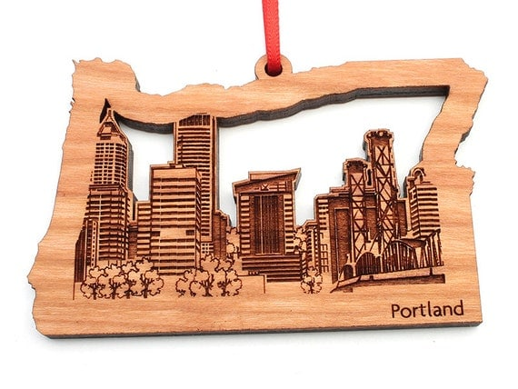 Portland Oregon Christmas Ornament City Skyline of Portland