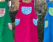 Girl's dress, girl's pink dress, girl's corduroy dress, girl's pinafore, girl's skirt dungerees, girl's romper dress