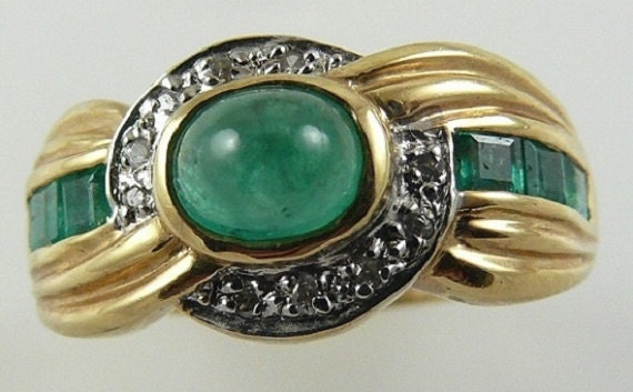 Emerald 1.20ct Ring14kYellow Gold With Diamonds 0.10ct