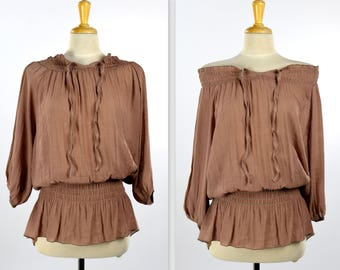 Elegant Off Shoulder Tunic Top, Shirring Elastic Blouse, Ruched Collar Tunic Top, Ruched Waist Top, Mocha, One Size (Fits S to XL)