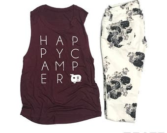 Happy Camper Muscle Tank - sleeveless - tank top - neon - camp - beach life - summer - womens clothing - ladies - camping - airstream