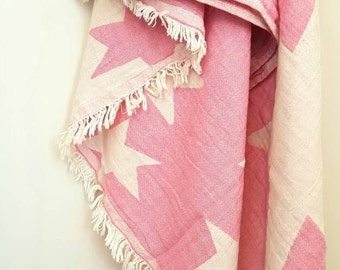 Ultra Soft Swaddle Blanket - Pink Stars Beach throw - Baby Nursing Throw - Girls Bathroom - Star Beach wrap - 100 % Cotton - Gift for Girl