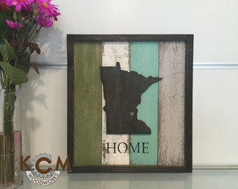 Art sign - State - Framed - Minnseota Hand painted, Rustic Wood Sign, Distressed Sign, Home Wall Decor, Wood Stain Sign