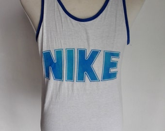 Vintage 1980s Rare!! Nike Blue Tag Reversible Singlet Sleeveless Shirt Small Size