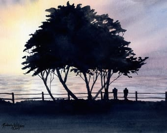 Sunset on the Lake - Original Watercolor Painting