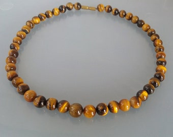 Tigers Eye Necklace Beaded Tiger's Eye Stone Brown UK