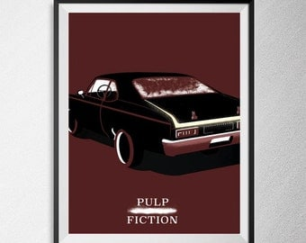 Pulp Fiction print, Illustration, Minimal film poster, minimalist movie art, custom posters, film and movie print, film art.